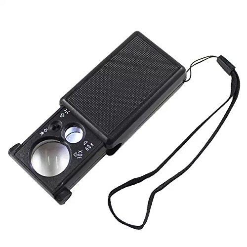 Goliton Mini 30X / 60X microscopio Fold Gioielli Eye Loupe Pull Tipo dei monili del Magnifier con la luce del LED - Nero