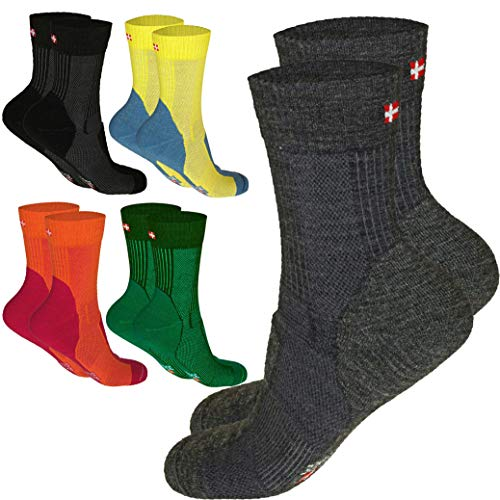 DANISH ENDURANCE Merino Wool Light Cushion Socks (EU 35-38, Giallo/Grigio Ciottolo - 1 Paio)