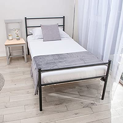 Home Treats Single Bed In Black Metal Frame For Adults, Kids, Teenagers - cheap UK light shop.