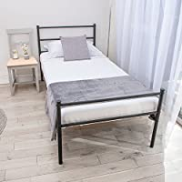 Home Treats Single Bed In Black Metal Frame For Adults, Kids, Teenagers