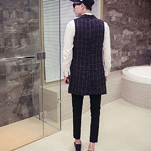 Zhhlaixing Doux confortable Mens Long Waistcoat Sleeveless Pocket Suit Vest Pocket Top Size XXL XXXL 4XL 5XL Black
