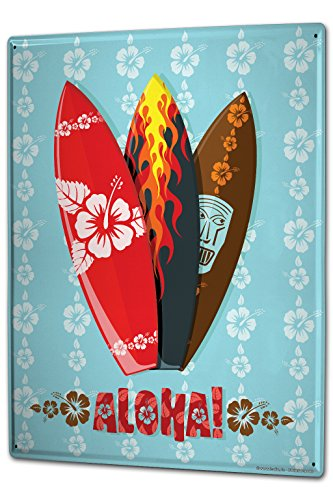 Cartel-Letrero-de-Chapa-XXL-Retro-Deco-Aloha-surf-Hawaii