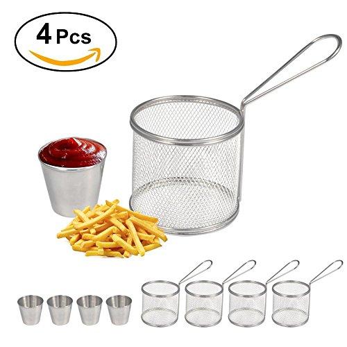 Fry Baskets Mini Runde Edelstahl Pommes frites Friteuse Korb Halter Kochwerkzeug mit Sauce Tasse für Tisch servieren Essen Präsentation Küche verwenden(4PCS)