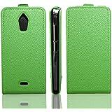 caseroxx funda Flip Cover para Wiko Wax 4G, Carcasa con flip para el smartphone (flip case en verde)