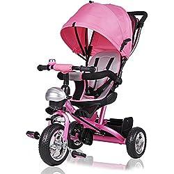 Tricycle rose enfant 10 à 36 mois Guidon Panier Toit Vélo Canne directionnelle