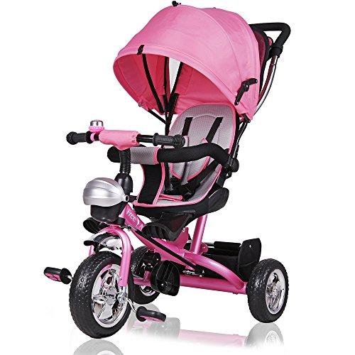 d Kinder Fahrrad Rad Baby Kleinkinder ✔klappbares Sonnendach ✔Elternlenkung ✔viele Vorteile ✔leise PU-Reifen ✔für Jungen und Mädchen ✔mitwachsend ✔pink ()