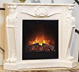 Casa Padrino Baroque stone fireplace cream with electric insert - Electric fireplace - Living room Antique style Art Nouveau fireplace
