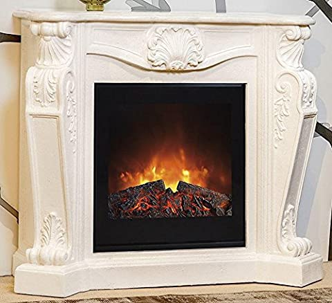 Casa Padrino Baroque stone fireplace cream with electric insert - Electric fireplace - Living room Antique style Art Nouveau