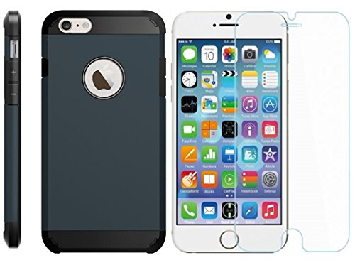 Armor Dura Protezione Estrema Custodia [TPU Shock-Absorption] Cover Case per Iphone 4/4s Nero e Vetro Temperato [Ultra-Sottile, Robusto & Rigido] Facil&co® Blu Marino