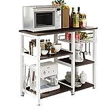 SogesHome 3 Ablage Küchenregal Bäcker Regal Standregal Mikrowellen Halter Küchen regallagerung Küchenwagen Servier,Schwarz W5S-BK-SH