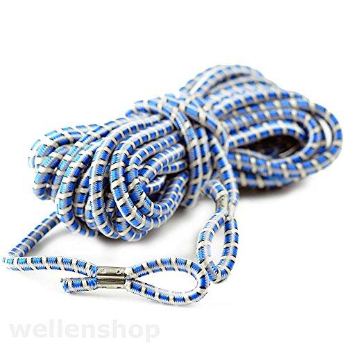 Preisvergleich Produktbild 7m Gummiseil 7mm weiß blau Ladungssicherungseil Expanderseil Planenspanngummi Anhängernetz