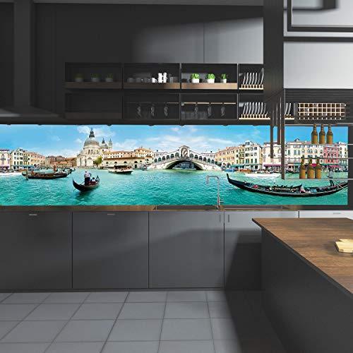 wandmotiv24 Küchenrückwand Venedig Brücke Meer Gondeln Italien 260 x 60cm (B x H) - Aluminium 3mm Nischenrückwand Spritzschutz Fliesenspiegel-Ersatz M1090