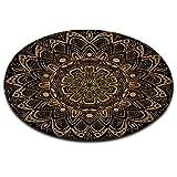 LB Mandala,Inder,schwarzer Hintergrund_Rund Fläche Teppich Wohnzimmer Schlafzimmer Badezimmer Küche Bodenmatte Inneneinrichtung,80x80 cm
