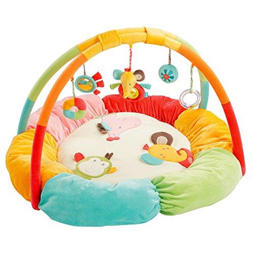 (Fehn 074611 3-D-Activity-Nest Safari – Besonders weicher Spielbogen mit 5 abnehmbaren Spielzeugen für Babys Spiel & Spaß von Geburt an – Maße: Ø85cm)