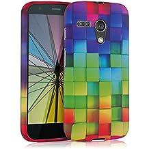 kwmobile FUNDA de TPU silicona para Motorola Moto G (2013) Diseño arco iris dado multicolor verde azul - Estilosa funda de diseño de TPU blando de alta calidad