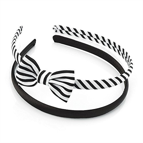 2 Pack Plain & Stripe Bow Alicebands Head Hair Bands in Black and White