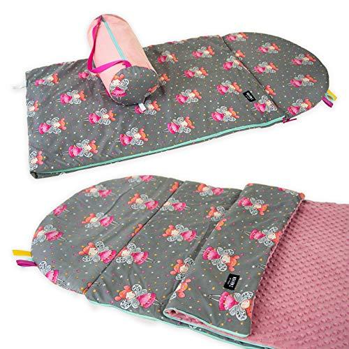 Babyboom Schlafsack für Kinder, Krippe, Kindergarten, Zuhause, auf Reisen/ 100% Baumwolle + MINKY / 75x120 cm + Kissen inkl. Tasche/handmade in EU (Feen - rosa)