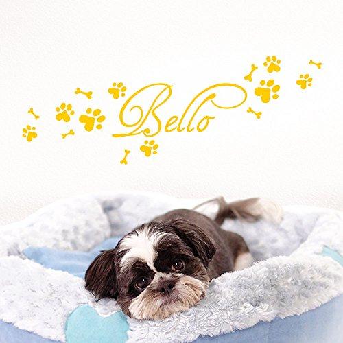 Grandora Wandtattoo Wunschname + Hundepfote Knochen I gelb (BxH) 50 x 15 cm I Flur Wohnzimmer selbstklebend Aufkleber Wandaufkleber Wandsticker W806 -