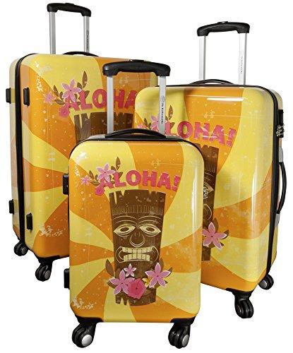 Betz Reisekoffer Hawaii 1 Hartschalen Koffer Kofferset Handgepäck Teleskop Trolley Boardcase mit TSA Schloss und Leichtlaufrollen Größe M