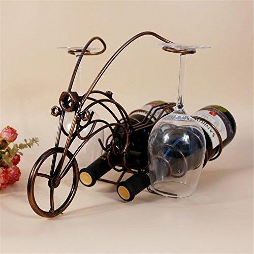 Vigvog cavalletto porta bottiglia di vino in vetro casa cucina soggiorno sala da pranzo Decor Accent 41cm–Á21CM–Á28CM, Bronze, 41*21*28cm