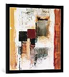 kunst für alle Bild mit Bilder-Rahmen: Cornelia Riepshoff Outside - dekorativer Kunstdruck, hochwertig gerahmt, 70x70 cm, Schwarz/Kante grau