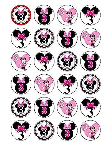 24x Disneys 3ème anniversaire Minnie Mouse Cupcake comestible pour gâteaux