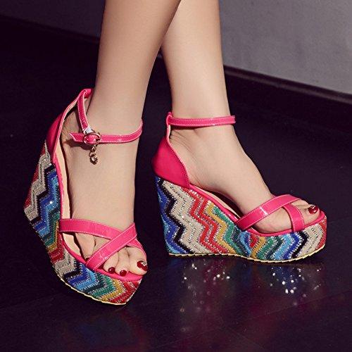 COOLCEPT Femmes Mode Cheville Sandales Orteil ouvert Compenses Chaussures Cherry Rouge