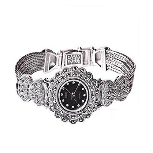 Damen Frauen 925Sterling Silber Armband mit Markasit Luxus 925Silber Vintage Armbanduhr
