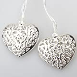 GLADLE Romantic 10LED Silver Metal Heart Fairy String Light Decoration Bild 3