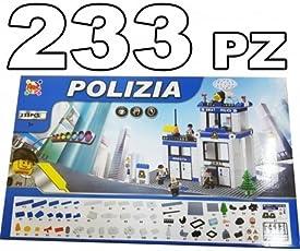 TrAdE shop Traesio® COSTRUZIONI 233PZ STAZIONE DI POLIZIA CITY MATTONCINI COMPATIBILI CON LEGO GIOCO