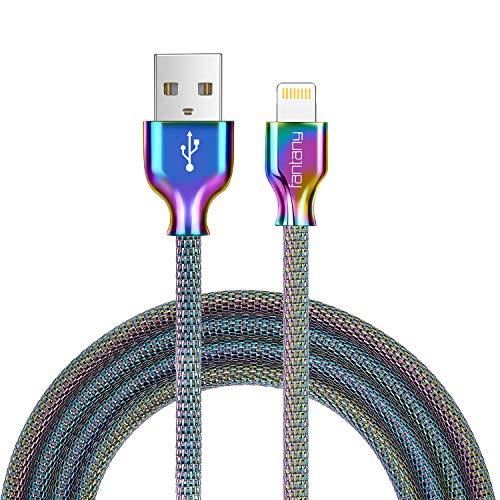 Fantany Lightning Ladekabel,[MFi-Zertifiziert] Metal flechtete Lightning Ladekabel USB Lightning Kabel Kompatibel für iPhone X,XS Max,8 Plus,7 Plus,6s Plus,iPad Mini, iPad Pro,1m Länge,1 Stück (Iphone 5 Designer)