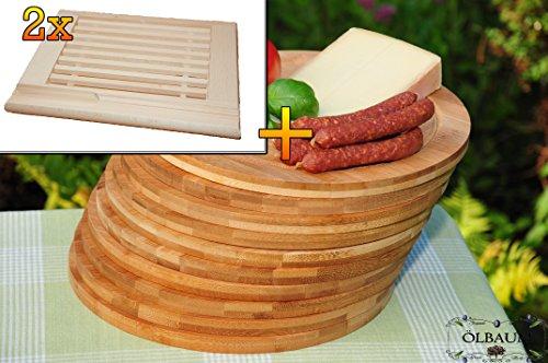 Frühstücks-Servierbrettbrett, Buche - SPÜLMASCHINENFEST '*' , 2 Stück - massive, hochwertige ca. 24 mm starke Picknick Grill-Holzbrett mit Krümelfach natur mit abgerundeten Kanten, Maße viereckig je ca. 36 cm x 29 cm & 10 mal Schneidebrett - massive, hochwertige ca. 12 mm starke Picknick Grill-Holzbretter mit Rillung natur, dunkles Bambus, Maße rund je ca. 25 cm Durchmesser als Bruschetta-Servierbrett, Brotzeitbrett, Bayerisches Brotzeitbrettl, NEU Massive Schneidebretter, Frühstücksbretter,
