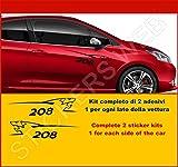 Kit Adesivi Stickers Peugeot 206 Leone Lion 2 Adesivi Tuning Auto -Scegli SUBITO Colore- Car pegatina cod.0491 (Nero cod. 070)