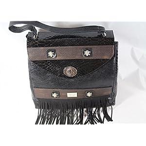 große Leder Handtasche Schwarz mit Totenkopfnieten und Fransen