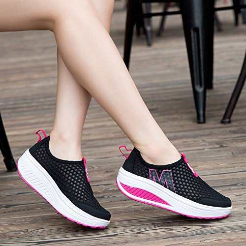 EnllerviiD Damen Sneaker Atmungsaktiv Slip On Mesh-oberfläche Schuhe Laufschuhe Plateau Schwarz