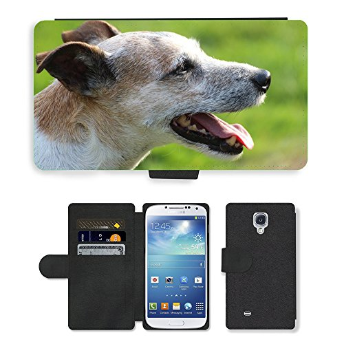 PU Flip Carcasa Funda de Cuero Piel Cubre Case // M00133651 Cane Capo Close Parson Russell Terrier // Samsung Galaxy S4 S IV SIV i9500