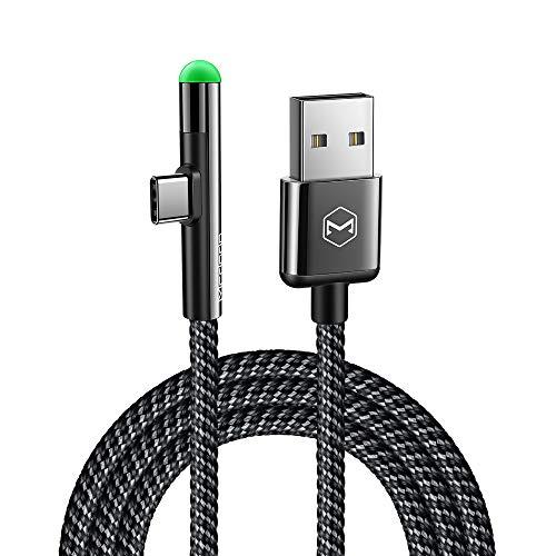 Mcdodo LED USB C Ladekabel 90 Grad Winkel Type C abgewinkelt Kabel USB C Winkel auf A Nylon geflochten Schnellladegerät Daten Kabeladapter Kabel kompatibel mit Galaxy S10 S9 S8 Huawei P20 P30 (1,5m) -