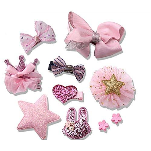 Albeey 10 Stück Haarclip Baby Mädchen Haarspange Haarbögen Kinder Boutique Haarklammern Haarschmuck Set (rosa)