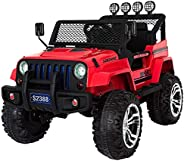 Dorsa 12 V Battery Operated Wheelie Jeep for Kids, Red