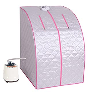 COSTWAY Steam Sauna, Portable 2L Sauna Steamer, Indoor Sauna Spa with 1-9 Level to Control Temperature and 0-99 Minutes Timer, for Full Body Slim, Detox and Weight Loss