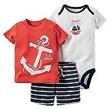 ARAUS Conjuntos para Bebe Niño Ropa Top Camisa Pantalones y Mono De Tress Piezas En Verano 3-24Meses
