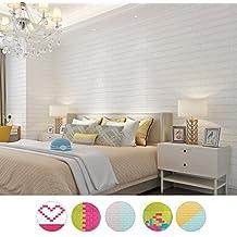 KINLO 5PCS DIY Pegatina de Pared Ladrillo 70*77*1CM Más espeso Papel Pintado Autoadhesivo Panel Pared Impermeable PE Espuma Decoración de pared(Color Blanco)