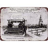 Letrero de metal de reproducción de aspecto vintage de máquinas de escribir de madera de 1915