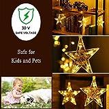 Yinuo Mirror® 12 Sterne LED Lichtervorhang Lichterkette im Innen/Außen, Niederspannung Sternenvorhang warmweiß, wasserdicht IP65, 8 Fernbedienung Leuchtmodi, Weihnachtsdeko Fenster Garten (2.2x1M) Vergleich