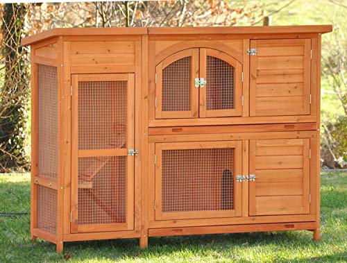 nanook Kaninchenstall, Hasenstall Jumbo XL mit seitlichen Aufgängen für mehr Platz - Wetterfest extragroß 138 x 48 x 109 cm Natur braun - Großer Kaninchenstall