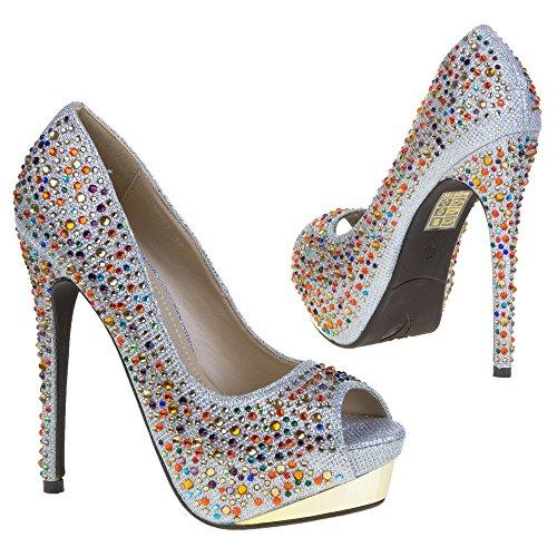 Damen Schuhe, 28111, PUMPS Silber 28111