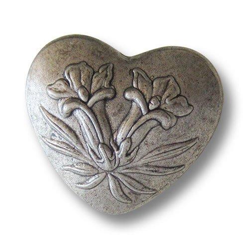 Knopfparadies - 5er Set bezaubernde leicht gewölbte altsilberfarbene Metallknöpfe in Herz Form mit zwei Enzian Blüten / Altsilberfarben geschwärzt / Trachtenknöpfe / Ø ca. 19x21mm