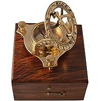 Zap Impex   Reloj de Latón de Latón, Compás Reloj de Latón nostálgico en Caja de Madera Caja de Regalo de Madera, Brújula 3 Pulgadas con Caja de Palisandro (5 Pulgadas)