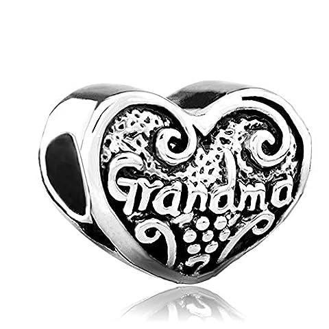 NEW Love Cœur grand-mère Inscription Grandma famille Charme vente bon marché perles Pandora Jewelry Bracelet