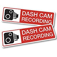 2 x Dash Cam Recording Stickers 12cm x 3.5cm. Security Warning Vehicle Decals. Sticks to outside of vehicle (Red)